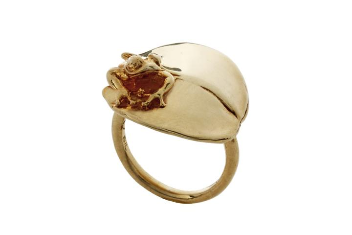Silver Yellow gold gilded The Hopper & Lilypad ring