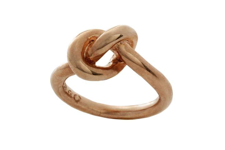 Silver Rose gold gilded large Knot ring