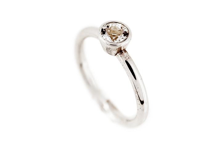 Silver Ring with Silver Topaz