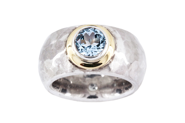 Blue Topaz Ring in Silver & 18ct Yellow Gold