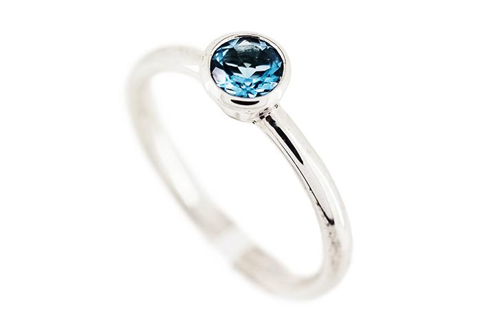 Silver and Deep Blue Topaz Ring