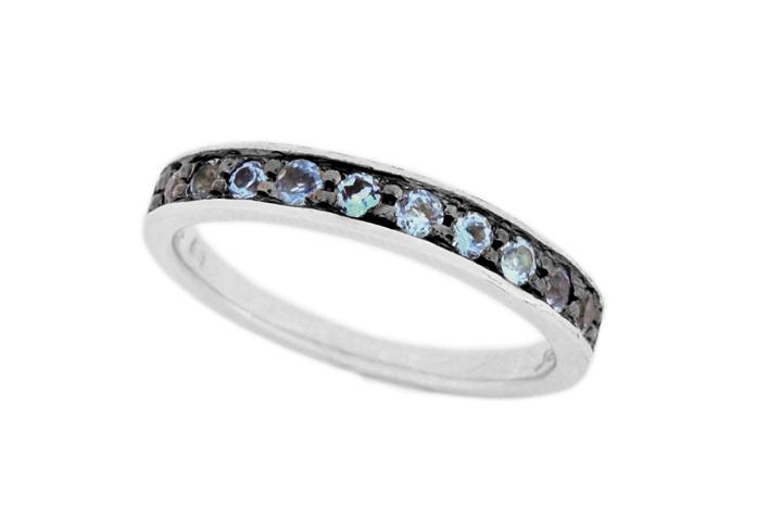 Silver and Blue Topaz Stacking Ring