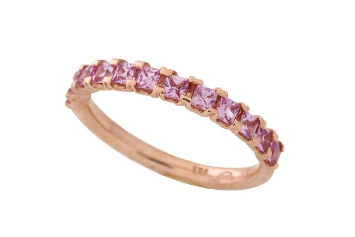 Princess Square Pink Sapphire Stacker