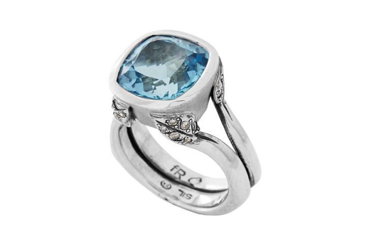 Spring Sky Ring, Silver and Blue Topaz - 50% OFF!