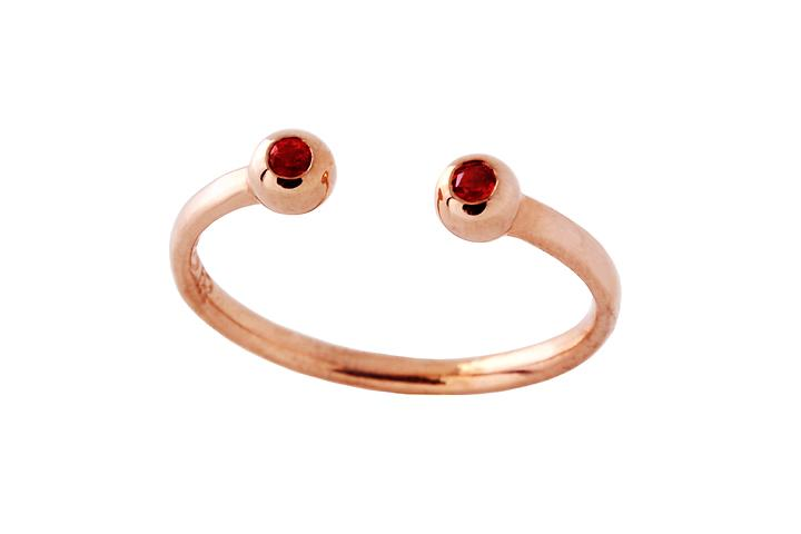 Silver Rose Gold Gilded Spessartite Garnet eye opener ring