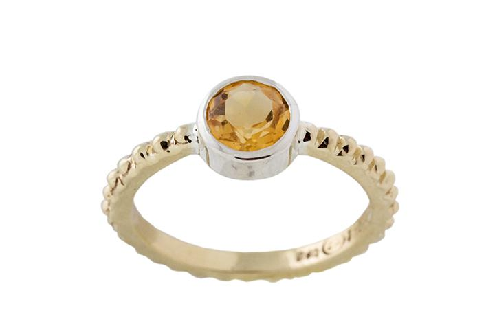 Silver and 9ct Yellow Gold, Citrine Stacking Ring, with Bobble Shank