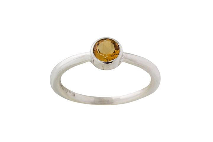Silver and Citrine Stacking Ring