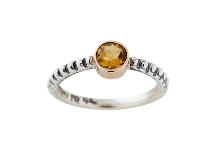 Silver and 9ct Rose Gold, Citrine Stacking Ring, with Bobble Shank