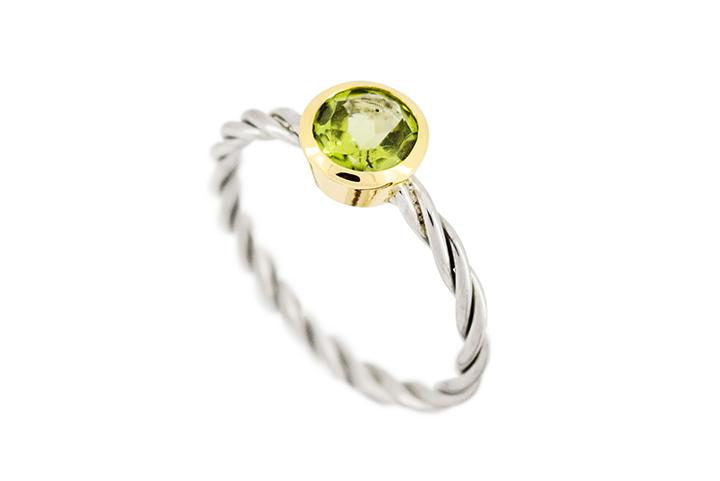 9ct Yellow Gold and Silver, Peridot Ring with Twisted Band