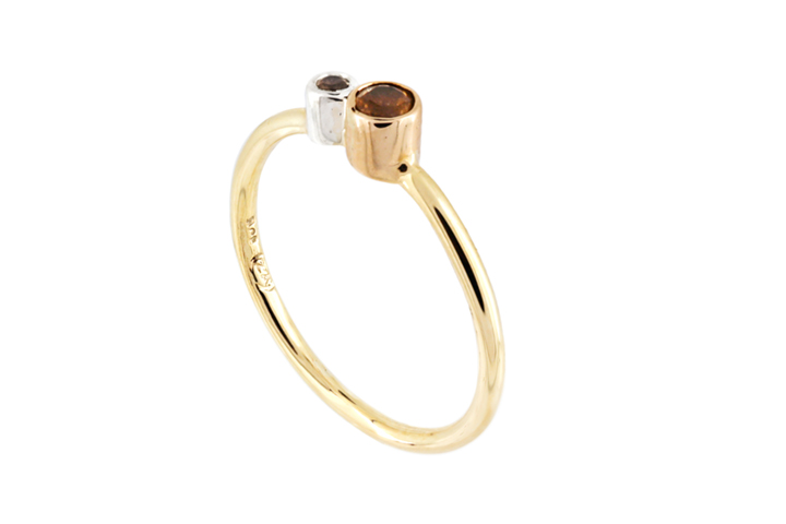 Citrine, Silver and 9ct Gold Stacking Ring with Double Stone feature