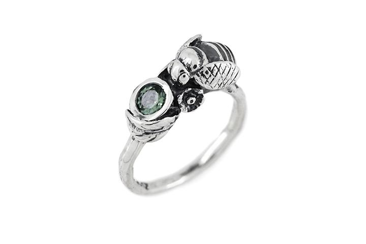 Green Tourmaline Bee Ring in Silver