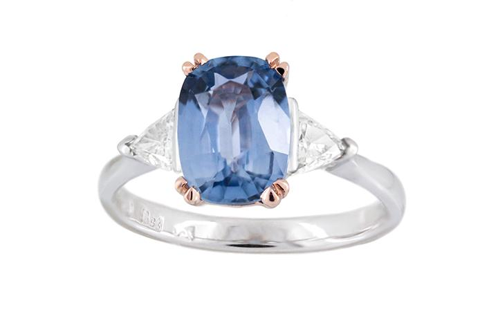 Blue Sapphire and Diamond Ring in 18ct White and 9ct Rose gold