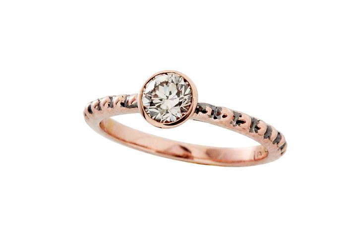 9ct Rose Gold and Brown Diamond Bobble Shank Ring