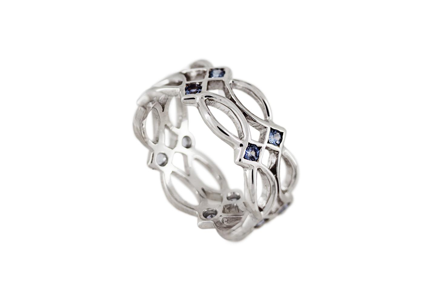 9ct White Gold Celtic Ring with Light Blue Sapphires